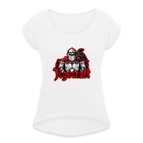 Jegscraft logo - T-skjorte med rulleermer for kvinner