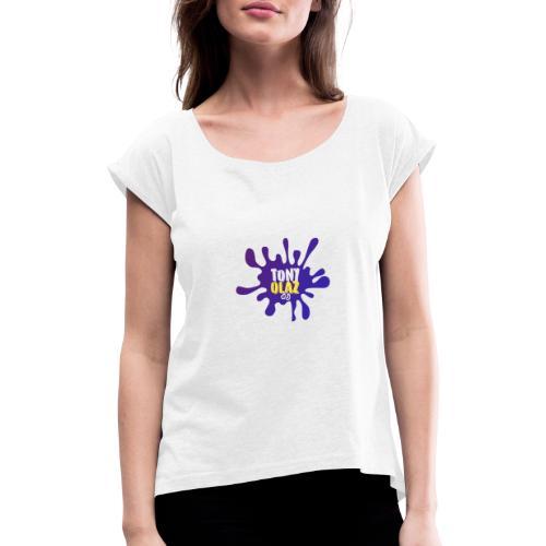 Splash morado - Camiseta con manga enrollada mujer