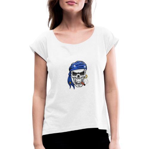 born skull new freigestellt - Frauen T-Shirt mit gerollten Ärmeln
