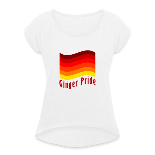 Ginger Pride flag Dark png - Women's T-Shirt with rolled up sleeves