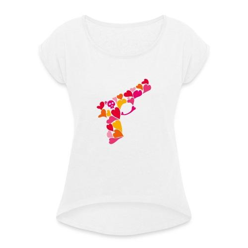 Lovegun - T-shirt med upprullade ärmar dam