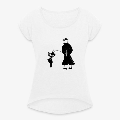 Pissing Man against irresponsible pregnancies - Frauen T-Shirt mit gerollten Ärmeln