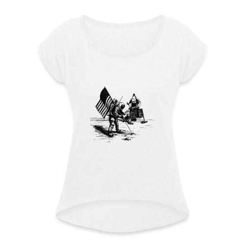Grey Spaceman - Vrouwen T-shirt met opgerolde mouwen
