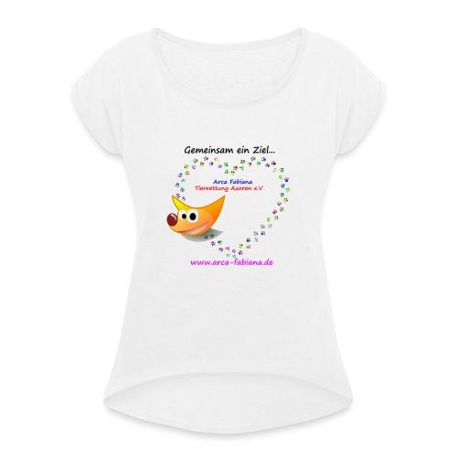 Arca Fabiana bunte Hunde - Frauen T-Shirt mit gerollten Ärmeln