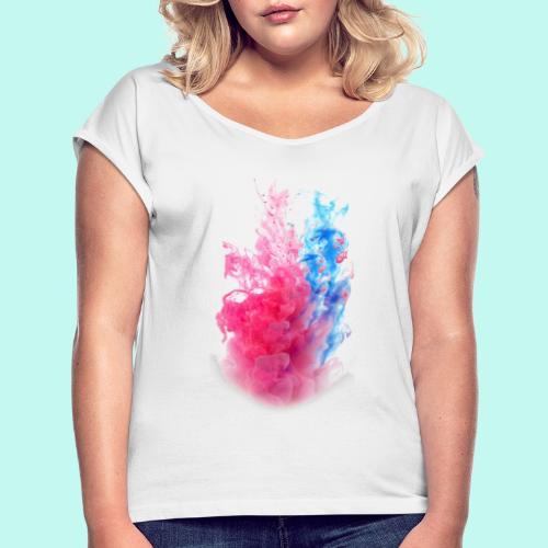 Pink & Blau - Frauen T-Shirt mit gerollten Ärmeln