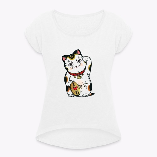 Love Lucky Cat - Women's T-Shirt with rolled up sleeves