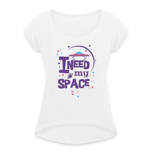 t_shirt_fuer_beste_freundin - Frauen T-Shirt mit gerollten Ärmeln