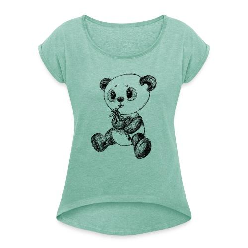 Panda Karhu musta scribblesirii - Naisten T-paita, jossa rullatut hihat