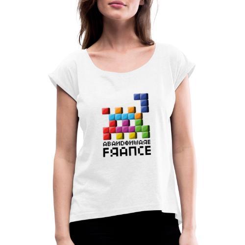 Logo Style Tétris - T-shirt à manches retroussées Femme