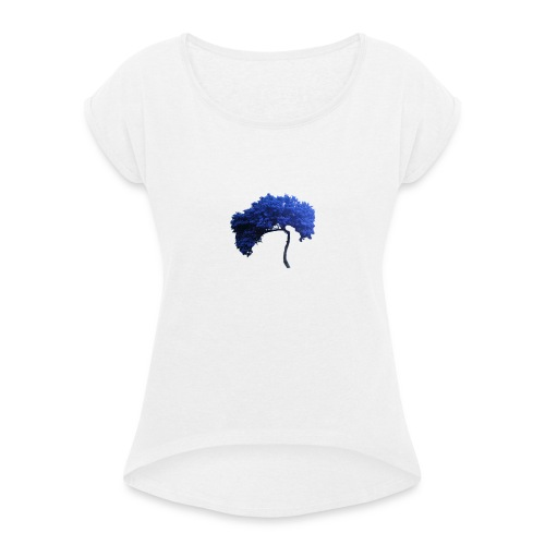 blue tree - T-shirt med upprullade ärmar dam