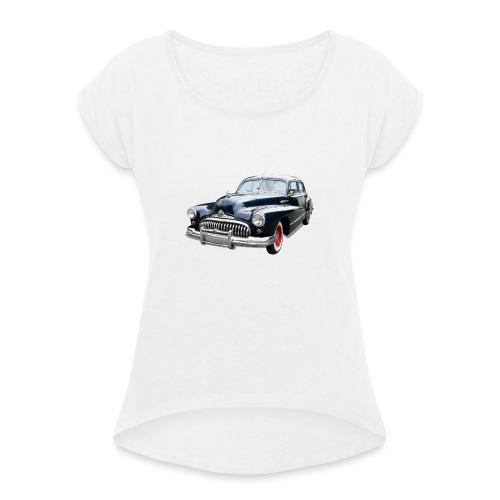 Classic Car. Buick zwart. - Vrouwen T-shirt met opgerolde mouwen