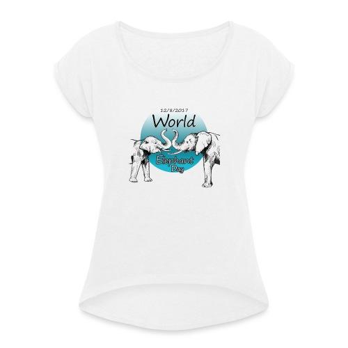 World Elephant Day 2017 - Frauen T-Shirt mit gerollten Ärmeln