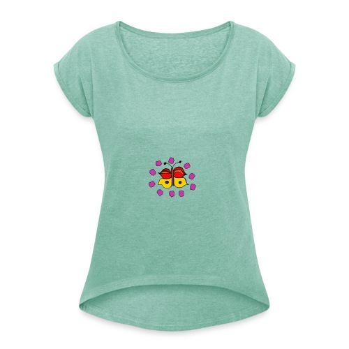 Butterfly colorful - Women's T-Shirt with rolled up sleeves