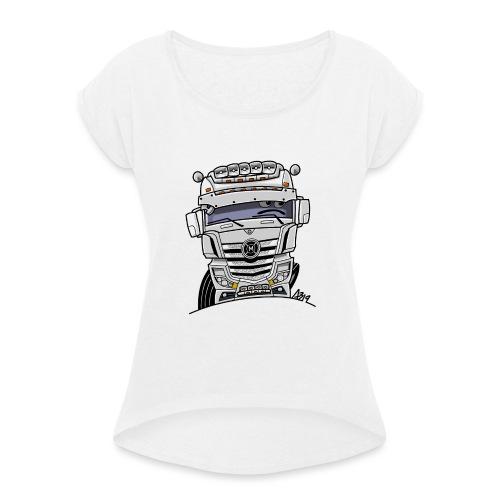 0807 M truck wit - Vrouwen T-shirt met opgerolde mouwen