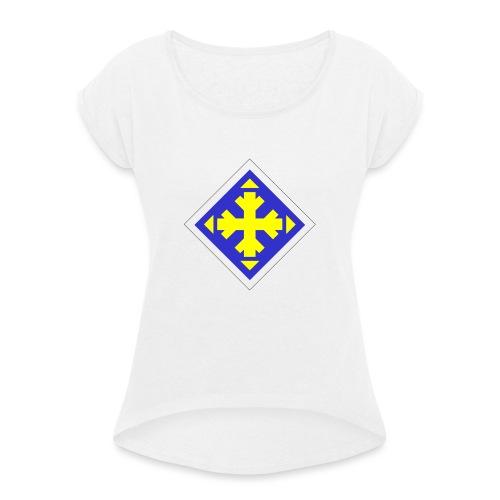 Mäksäreppu, vaalean sininen - Naisten T-paita, jossa rullatut hihat