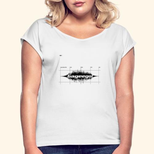 Gageego logga vit text - T-shirt med upprullade ärmar dam