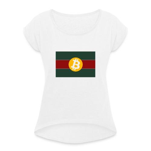 Bitcoin Logo Greed Red Flag - Frauen T-Shirt mit gerollten Ärmeln