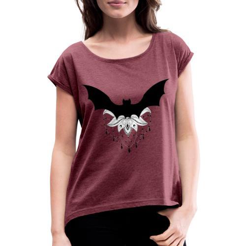 chauve-souris mandala - T-shirt à manches retroussées Femme