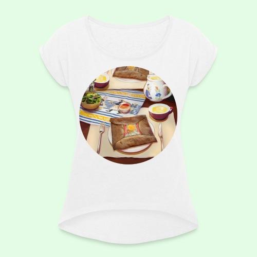 Flavors of Crepes - T-shirt à manches retroussées Femme