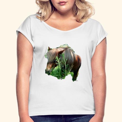 tee-shirt poney - T-shirt à manches retroussées Femme