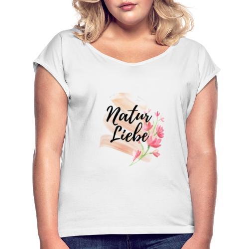 Natur Liebe Logo Pastell - Frauen T-Shirt mit gerollten Ärmeln