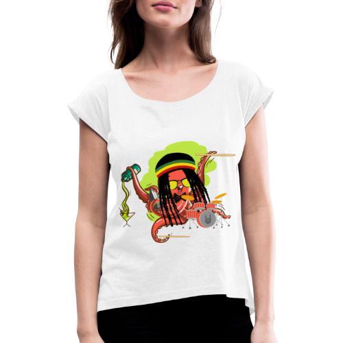 Rasta Krake - Frauen T-Shirt mit gerollten Ärmeln