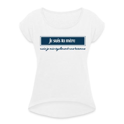 t shirt fete mere3 png - T-shirt à manches retroussées Femme
