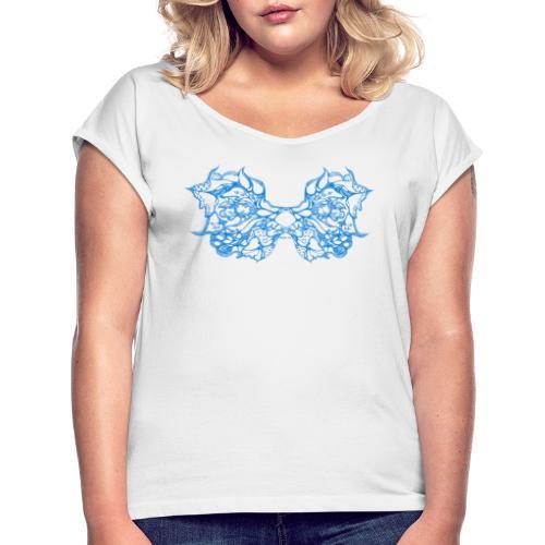 Blaue Spitzenflügel - Frauen T-Shirt mit gerollten Ärmeln