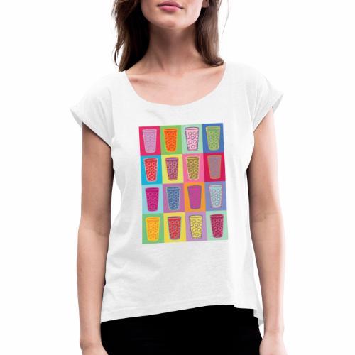 Farbige Dubbegläser - Frauen T-Shirt mit gerollten Ärmeln