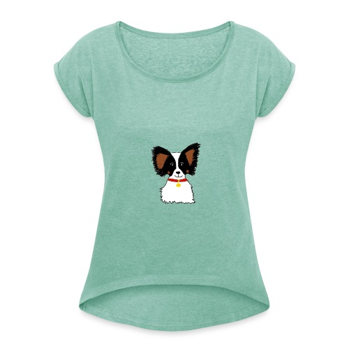 Papillon dog - Women's T-Shirt with rolled up sleeves
