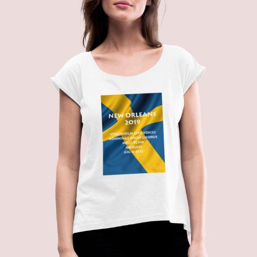 NewOrelans - T-shirt med upprullade ärmar dam