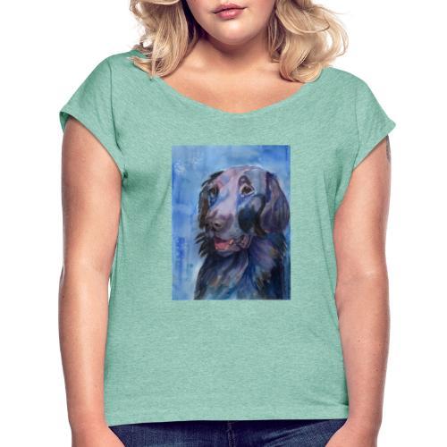 flatcoated retriever - watercolor - Dame T-shirt med rulleærmer