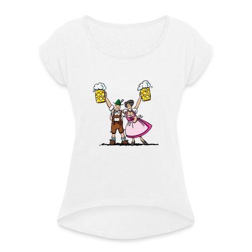 Fröhliches Oktoberfest Paar mit Bierkrug - Frauen T-Shirt mit gerollten Ärmeln