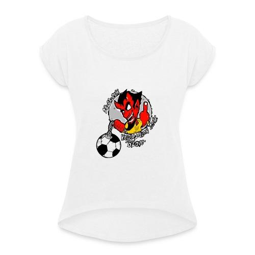 ontwerp_vrijgezellen3 - Vrouwen T-shirt met opgerolde mouwen