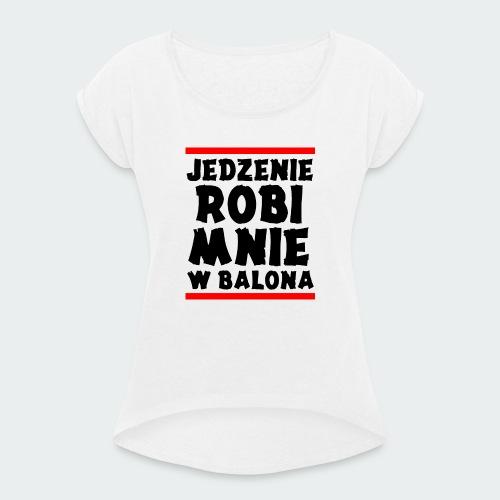 Damska Koszulka Premium JRBWB - Koszulka damska z lekko podwiniętymi rękawami