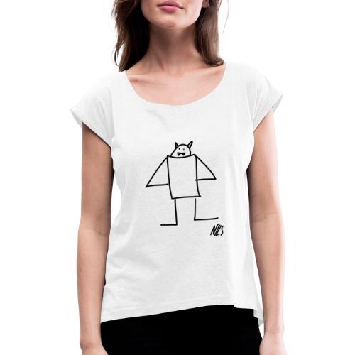 Bat - T-shirt med upprullade ärmar dam