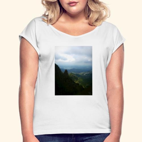 Góry - Koszulka damska z lekko podwiniętymi rękawami