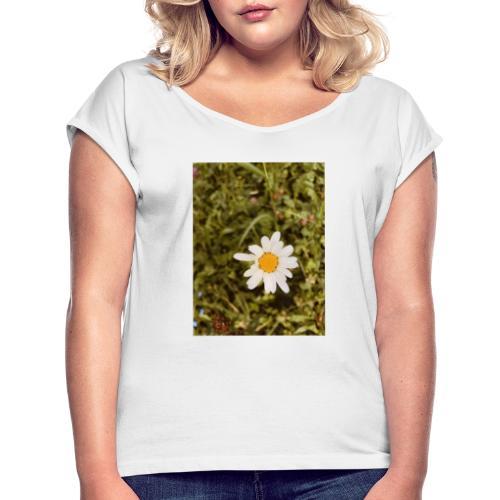 Flower - Frauen T-Shirt mit gerollten Ärmeln