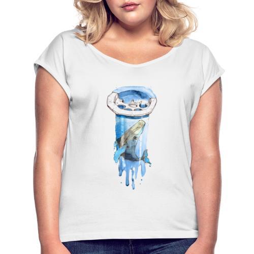 Wal im Abfluss (Whale in the Drain) - Frauen T-Shirt mit gerollten Ärmeln