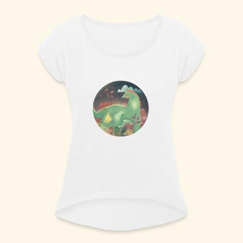 Dinosaur in the landscape - Maglietta da donna con risvolti