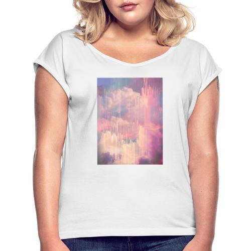 CANDY GLITCHED SKY - Women's T-Shirt with rolled up sleeves
