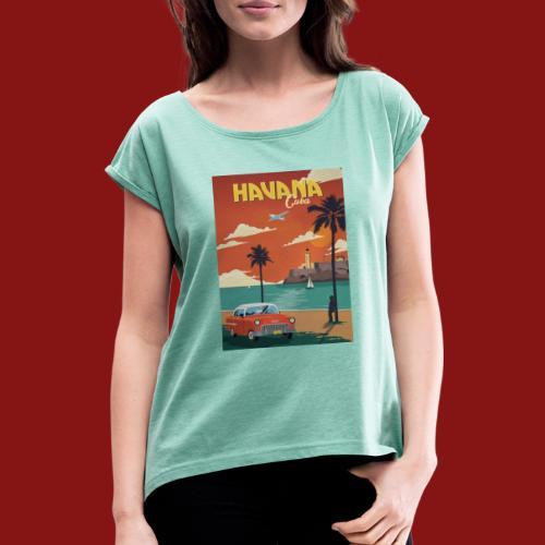 cuba - T-skjorte med rulleermer for kvinner