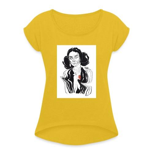 Hello - Vrouwen T-shirt met opgerolde mouwen