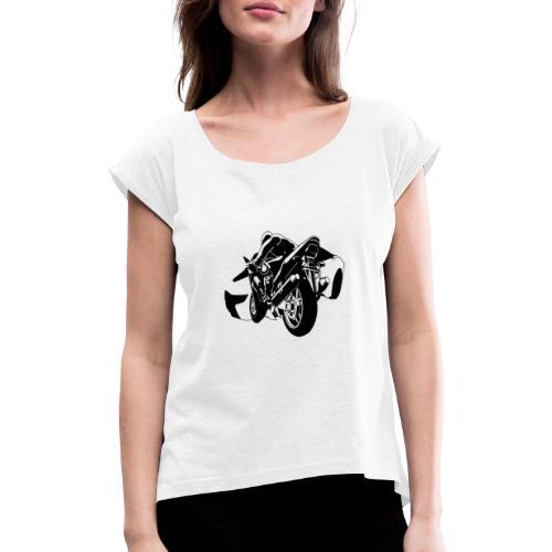 moto con carro - Camiseta con manga enrollada mujer