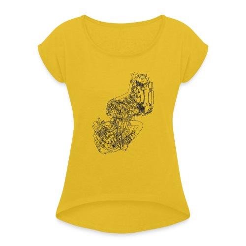 nx250 motorblok transparant - Vrouwen T-shirt met opgerolde mouwen