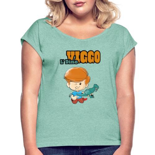 LDinoViggo Logo total - Dame T-shirt med rulleærmer