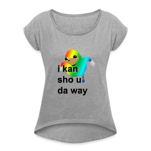 uganda - Naisten T-paita, jossa rullatut hihat