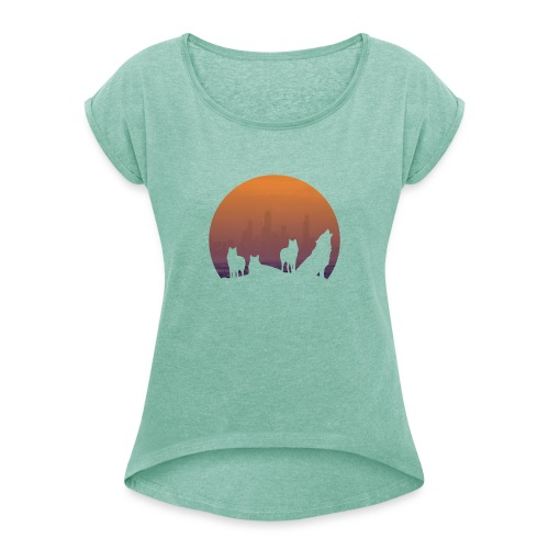 Wolfsrudel - Frauen T-Shirt mit gerollten Ärmeln