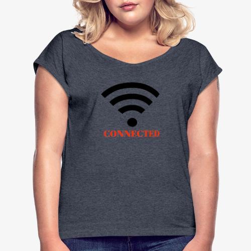 CONNECTED - T-shirt med upprullade ärmar dam