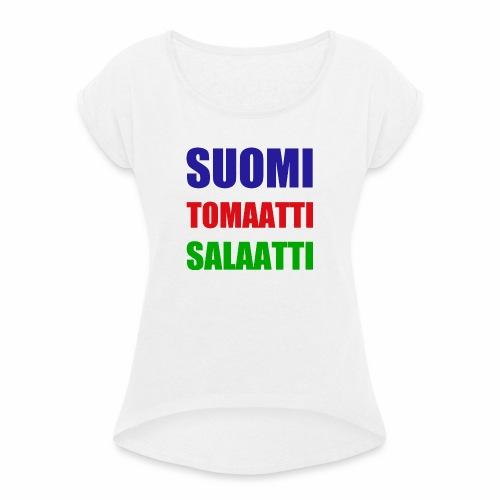 SUOMI SALAATTI tomater - T-skjorte med rulleermer for kvinner